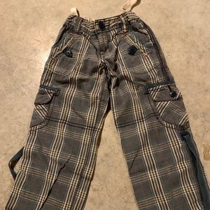 Stylish painter-style pants with plaid accents